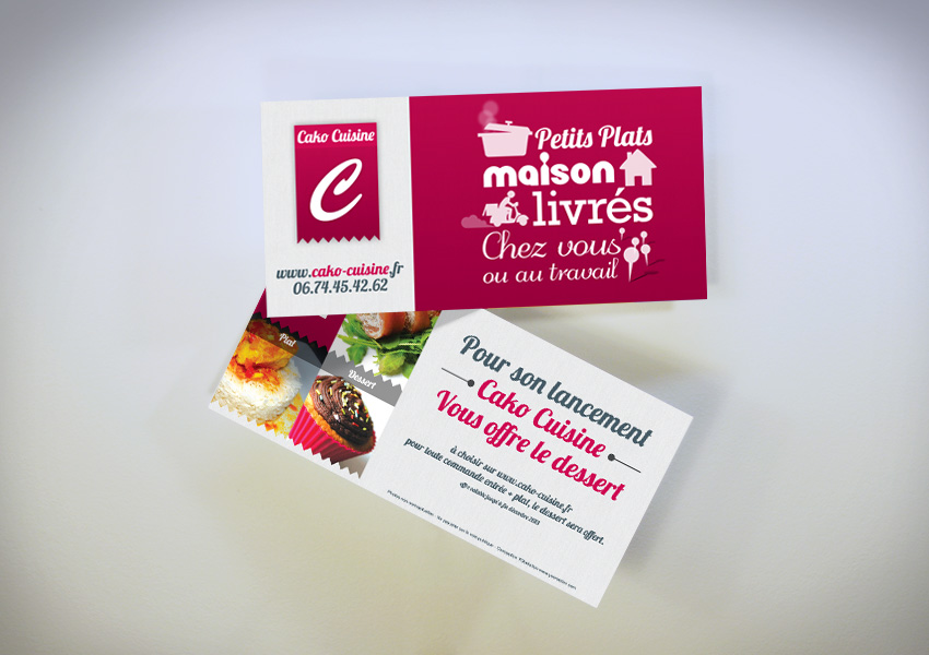 CAKO Livraison Plats Cuisins Cration Cartes De Visite Flyers Graphique Communication Promotionnelle Papier